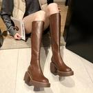 長靴 長筒靴厚底粗跟顯瘦網紅高筒靴女騎士靴瘦瘦靴高跟長靴子 阿薩布魯