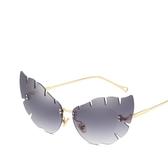 貓眼太陽鏡 不規則鏡片墨鏡 金屬太陽眼鏡【五巷六號】y125