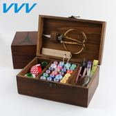 針線盒套裝針線包家用韓國縫紉線針線收納盒十字繡工具實木針線盒