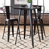 【E-home】Dale黛爾工業風金屬方形吧台桌-幅60cm-三色可選黑色