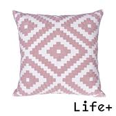 Life Plus 幾何繡花 棉麻舒適方型抱枕.靠枕_菱形
