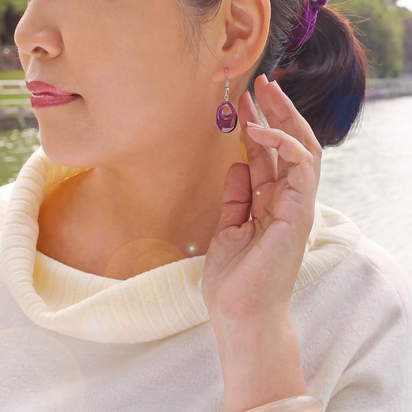 紫水晶耳環-紫色魅力 石頭記