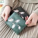 紀姿復古刺繡韓版女士錢包女短款兩摺疊學生多功能零錢位零錢包夾 蘿莉小腳丫