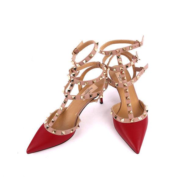 【Valentino】牛皮尖頭3環ROCKSTUDS高跟鞋(紅色) JW2S0375VOD S39