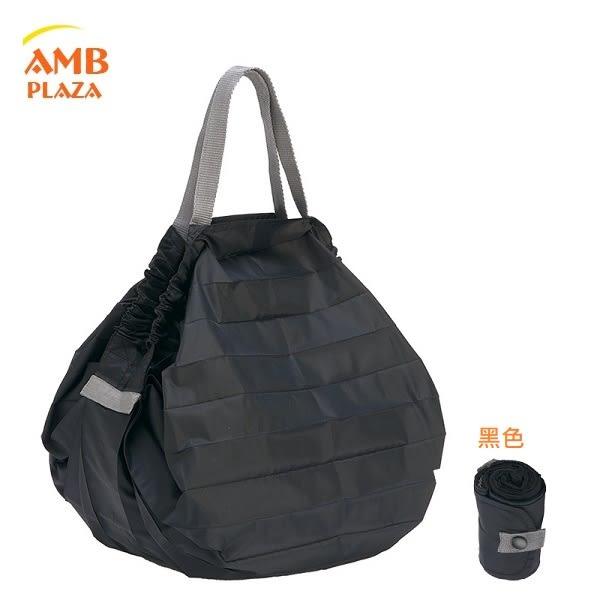 日本 MARNA Shupatto【 黑色M】輕量口袋包環保購物袋/快速摺疊收納
