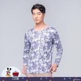 【WIWI】迷彩米奇溫灸刷毛圓領發熱衣(銀河灰 男S-3XL)