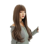 整頂假髮(長髮)-齊瀏海蓬鬆微彎直髮女假髮4色73vs52【巴黎精品】