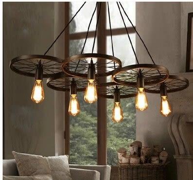 設計師美術精品館原創設計 loft創意個性複古餐廳吧台美式鄉村鐵藝工業風車輪吊燈