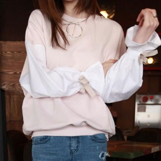 EASON SHOP(GU8307)氣質撞色蝴蝶結綁帶喇叭袖拼接圓領長袖T恤女上衣服落肩寬鬆顯瘦內搭衫長版棉T恤