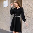 法式赫本小黑裙收腰顯瘦氣質內搭打底娃娃領針織洋裝女秋冬加厚 小艾新品