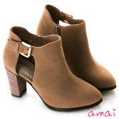 amai小性感鏤空絨布高跟踝靴 杏