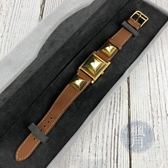 BRAND楓月 HERMES 愛馬仕 CDC MEDOR金色鉚釘錶 開蓋 皮錶帶 白盤 金指針 簡單優雅 手錶 腕錶
