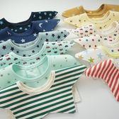 3條裝嬰兒純棉口水巾新生兒360度旋轉圍嘴防水按扣圍兜寶寶防吐奶【居享優品】