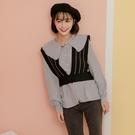 春秋新款套裝 棉小格娃娃領襯衫+毛衣短款背心 ( 黑 藏藍 )