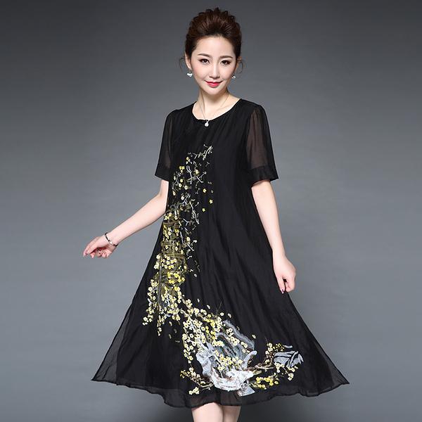 中大尺碼洋裝 重工繡花寬鬆飄逸中長款短袖連身裙 3色 M-3XL #ybk6093 ❤卡樂store❤
