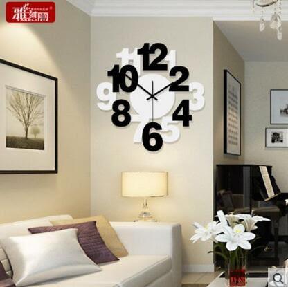 雅刻麗現代個性時鐘靜音客廳掛鐘時尚藝術鐘錶簡約創意臥室石英鐘(12英吋)