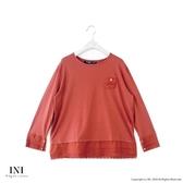 【INI】美麗氛圍、A字剪裁拼接布蕾絲長袖上衣.橙色