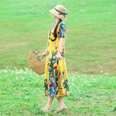 文藝洋裝 2019春季民族風文藝複古定位花棉麻連衣裙長袖大碼女裝顯瘦長裙