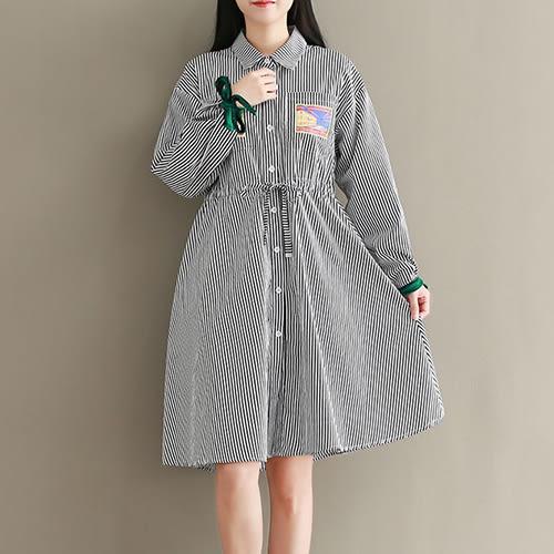 *ORead*森女系收腰氣質純棉條紋襯衣領連身裙(2色M~2XL)