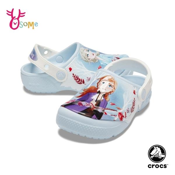 Crocs卡駱馳 女童洞洞鞋 童鞋 中小童 園丁鞋 防水布希鞋 冰雪奇緣 ELSA艾莎安娜 Frozen A1760#藍色