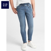 Gap女童 鬆緊腰彈力牛仔緊身褲 中大童褲子兒童長褲童裝349398-中度靛藍