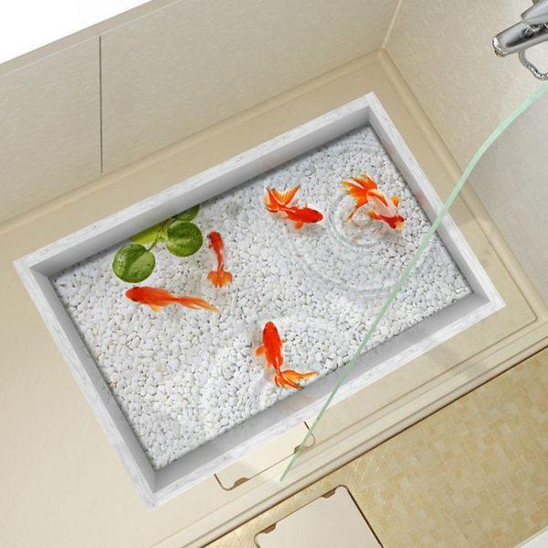 3D地貼墻貼立體客廳創意地板貼畫洗手間浴室防滑防水地磚貼防滑地貼墊jy 99狂歡購物節