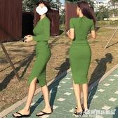 緊身洋裝 性感緊身包臀連身裙女修身顯瘦長袖褶皺中長款內搭打底t恤長裙秋 愛麗絲