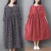 棉麻 日系小碎花顯瘦縮腰洋裝-中大尺碼 獨具衣格