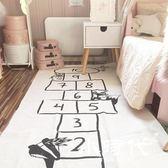 地墊 數字跳棋格子卡通兒童爬行墊印花嬰幼兒冒險爬行墊游戲墊地毯
