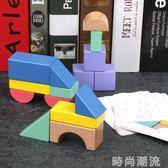 積木玩具啟蒙教育彩色創意認知早教益智拼裝搭建木制 時尚潮流