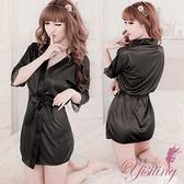 性感和服柔緞和服睡袍 黑   530720