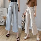 春夏季薄款棉麻褲寬管褲女高腰垂感寬鬆亞麻直筒長褲子休閒西裝褲