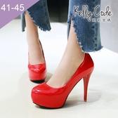 大尺碼女鞋-凱莉密碼-時尚焦點圓頭內防水台漆皮超高跟鞋12cm(41-45)【AE16-9】紅色
