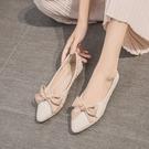 尖頭單鞋女百搭平底蝴蝶結一腳蹬復古仙女鞋