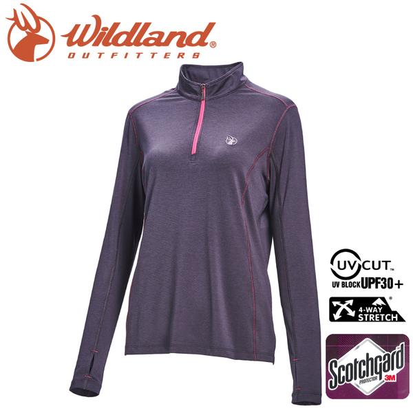 【Wildland 荒野 女 彈性抗UV拉鍊長袖上衣《深灰》】0A71653/半領襟/運動衣/吸濕排汗/登山/防曬