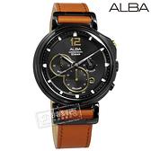ALBA / VD53-X303J.AT3D69X1 / 復刻計時 礦石強化玻璃 日期 防水100米 真皮手錶 黑x咖啡 44mm