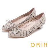 ORIN 微甜女孩 趣味造型沖孔牛皮平底尖頭鞋-可可