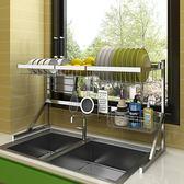 碗柜-不銹鋼晾碗水槽架瀝水架廚房置物架用品2層收納架水池放碗架新年免運特惠