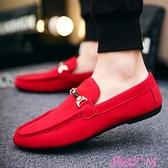 豆豆鞋秋季社會豆豆鞋男韓版潮流百搭帆布鞋社會小伙懶人一腳蹬紅色男鞋 JUST M