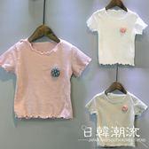 兒童短袖T恤女童夏季新款韓版童裝花朵木耳邊打底短袖t恤百搭0093