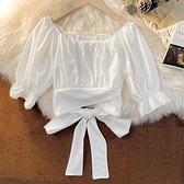法式方領短袖襯衫女夏設計感小眾超仙女甜美短款蝴蝶結泡泡袖上衣 喵小姐