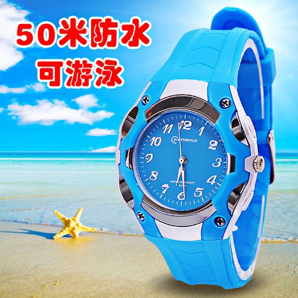 兒童手錶男孩電子錶防水正韓指針錶小學生手錶兒童手錶女孩石英錶【全館免運】