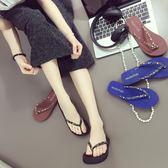 韓版人字拖鞋夏女士坡跟厚底沙灘鞋平底夾腳涼拖鞋平跟時尚外穿潮   mandyc衣間