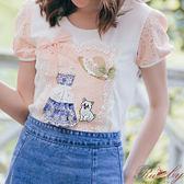 上衣 露比設計貓咪圖案蕾絲立體花棉質T恤短袖上衣-Ruby s露比午茶