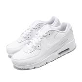 Nike 休閒鞋 Air Max 90 LTR GS 白 全白 女鞋 大童鞋 運動鞋 皮革鞋面 【PUMP306】 CD6864-100
