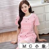 MG 家居服-純棉短袖睡裙加大碼