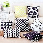 抱枕北歐靠墊現代簡約黑白黃色條紋幾何格子套樣板房靠枕沙發 NMS陽光好物