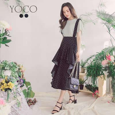 東京著衣【YOCO】法國好女孩點點拼接波浪下擺吊帶裙-S.M.L(172087)