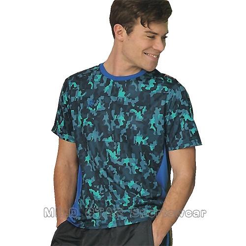 MILD STAR 男女吸濕排汗短T恤-AS181303-深藍迷彩