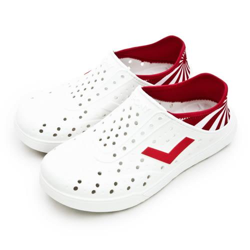 LIKA夢 PONY 防水輕量透氣 ENJOY 世足賽洞洞休閒鞋 日本 白紅 82U1SA71OW 女